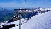 picture of tit  - ski cable car structure at snow mountains Titlis Engelberg Switzerland - JPG