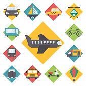 foto of travel trailer  - Transportation traveling icons set - JPG