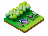 pic of isometric  - Isometric forest camping - JPG