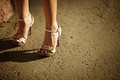 stock photo of streetwalkers  - natural warm light selective focus on the nearest part - JPG