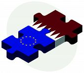 image of qatar  - European Union and Qatar Flags in puzzle isolated on white background - JPG