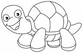 picture of terrapin turtle  - Outlined illustration of a turtle for coloring books - JPG
