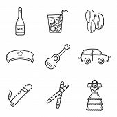 Set of cute hand drawn icons on Cuba theme poster