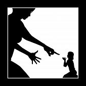 stock photo of humiliation  - Concept sign of mother who is intimidating and humiliating her child - JPG
