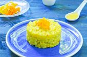 foto of saffron  - Risotto with pumpkin flowers with saffron cream - JPG