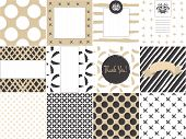 picture of white gold  - Card set template with seamless patterns in gold and white - JPG