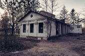 picture of abandoned house  - Old abandoned house entrance in retro style - JPG