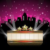 stock photo of marquee  - Marquee Sign in front of Cityscape  - JPG