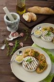 picture of baguette  - Grilled camembert with Dijon mustard and herbs baguettes