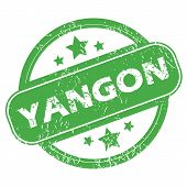 picture of yangon  - Round green rubber stamp with name Yangon and stars - JPG