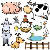 image of cartoon animal  - Vector Illustration of Farm Animals set cartoon - JPG