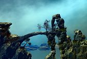 stock photo of vegetation  - 3D illustration of landscape with several rock formations and vegetation on the water in a bluish atmosphere - JPG