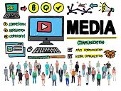 pic of mass media  - Media Devices Mess Communication Multimedia Concept - JPG
