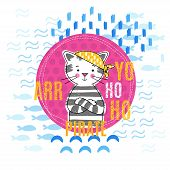 picture of pirate girl  - Portrait pirate kitten in a yellow bandana vector illustration - JPG