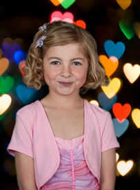 stock photo of little girls photo-models  - photo portrait of young girl in formal dress - JPG