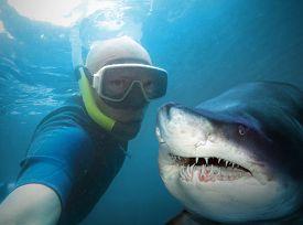 stock photo of deep  - Underwater selfie with friend - JPG