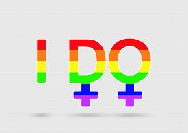 stock photo of gender  - Same sex marriage proposal concept with two female gender signs - JPG