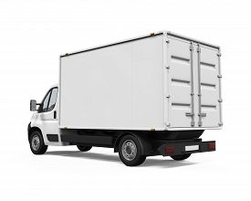 stock photo of designated driver  - Delivery Van isolated on white background - JPG