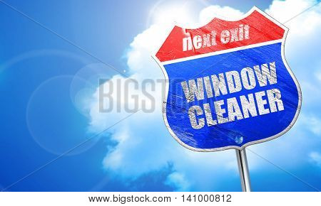 window cleaner, 3D rendering, blue street sign