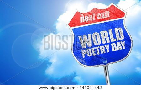 world poetry day, 3D rendering, blue street sign