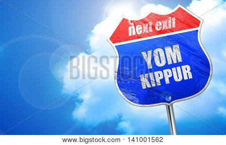 yom kippur, 3D rendering, blue street sign