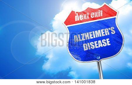 Alzheimer's disease background, 3D rendering, blue street sign