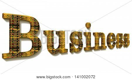 The word business with a yellow stock ticker texture isolated on white 3D illustration