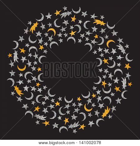 Gold and silver textured space round frame of the star, moon and comet on black background.