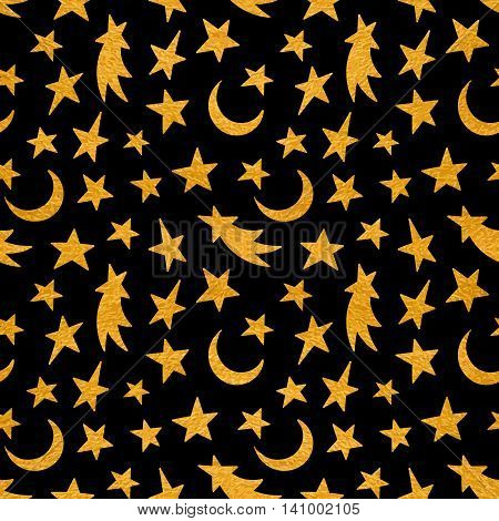 Gold textured cosmic seamless pattern of the star, moon and comet on black background.