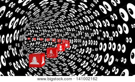 Red cubes with information security threat icons fly through a curved tunnel with an eyeballs texture watching 3D illustration