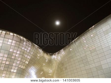 Seoul South Korea -October 27 2015 : Modern architecture of Dongdaemun Design Plaza at night. The building designed by Zaha Hadid.