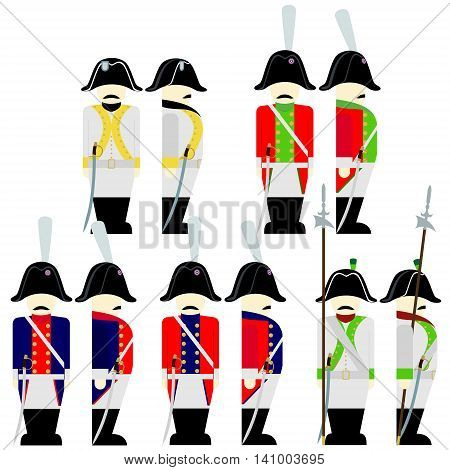 Soldiers of the army of Saxony in uniforms and weapons were used in the 1812 war. The illustration on a white background.