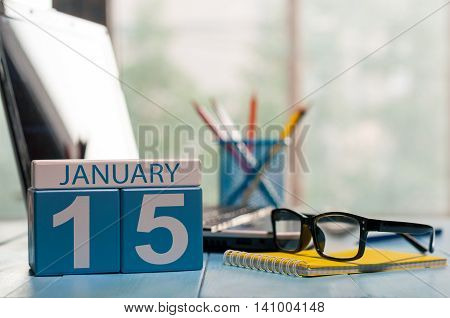 January 15th. Day 15 of month, calendar on Medical Assistant workplace background. Winter concept. Empty space for text.