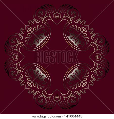 Vector vintage border frame engraving with retro ornament pattern in antique rococo style decorative design vector