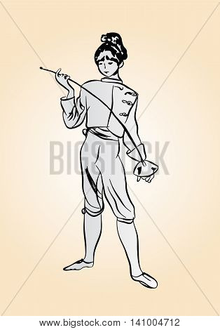 sketch girl fencers holding a rapier in his hand on a light background