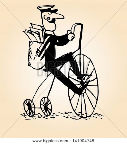 sketch of a man with a mustache postman riding a large tricycle retro bike