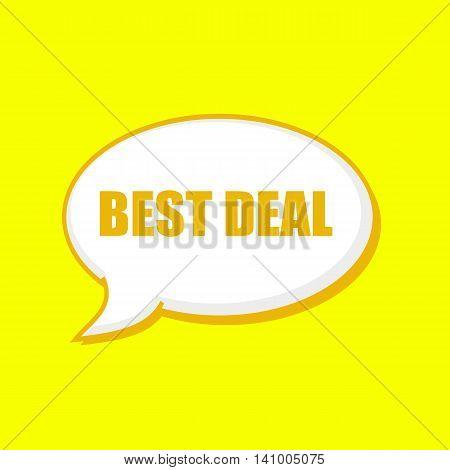 BEST DEAL orange wording on Speech bubbles Background Yellow