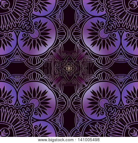 dark purple decor elements patterns of geometric shapes square shape on a black background a design element in the eastern Arab-style