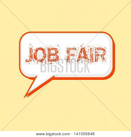 Job Fair Orange wording on Speech bubbles Background Yellow-White
