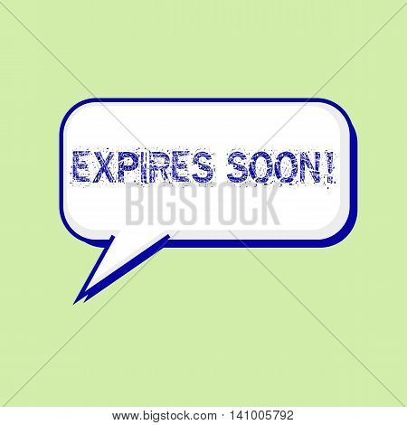 expires soon blue wording on Speech bubbles Background Green-White