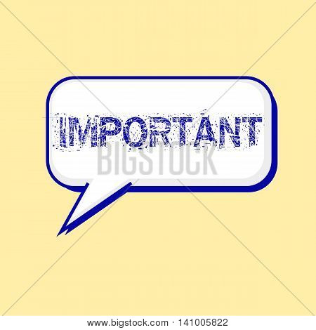 important blue wording on Speech bubbles Background Yellow-White