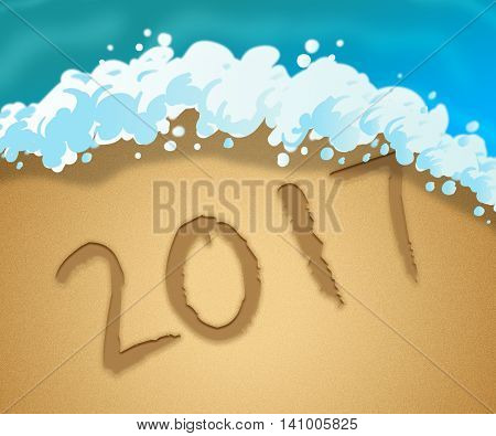 Twenty Seventeen Indicates Happy New Year And Annual