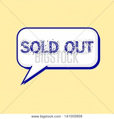 sold out blue wording on Speech bubbles Background Yellow-White