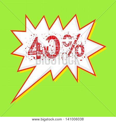 40% red wording on Speech bubbles Background Green-yellow