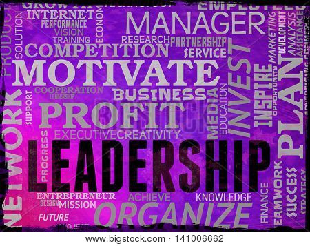Leadership Words Shows Command Guidance And Influence