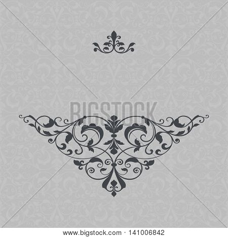 Floral card design vector template with beautiful ornament and copy space.