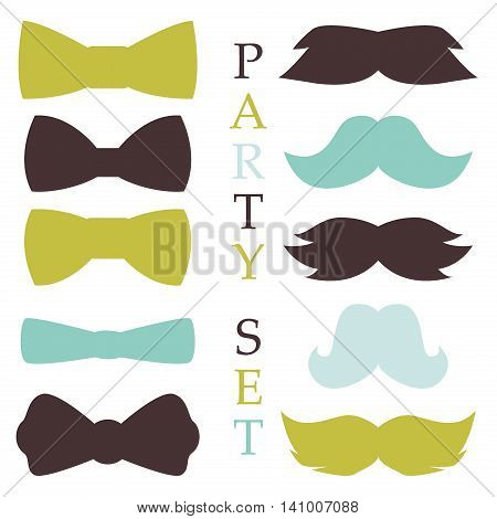Retro party set glasses, hats mustaches, ties and pipe design photo booth, scrapbook in vector. Fashion glasses costume fun party set mask mustache style. Face accessory party set fun beard character