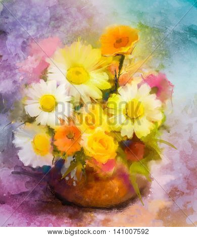 Watercolor painting flowers. Hand paint bouquet still life of yellow, orange, red, daisy- gerbera floral in vase on grunge textures background. Vintage painting style. Spring flower nature background