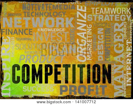Competition Words Shows Rivals Adversaries And Opponents