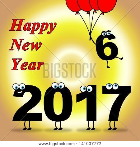 Twenty Seventeen Indicates Happy New Year And Celebrate